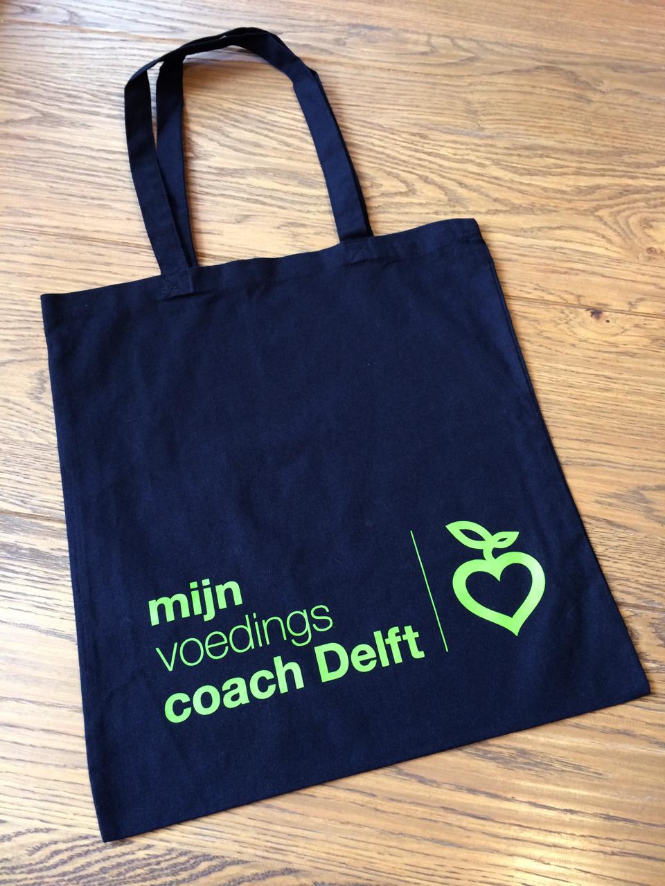 Mijn Voedingscoach Delft logo bronbestand en linnen tas bedrukking