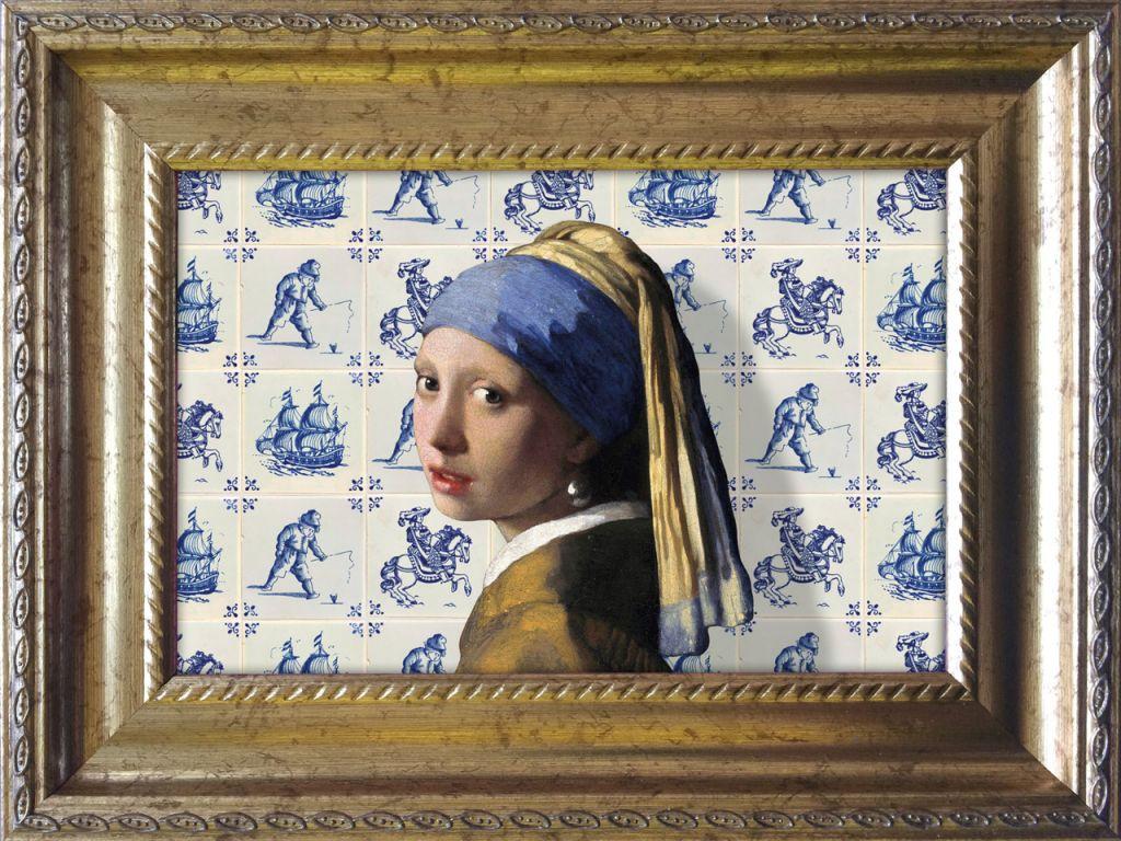 Vermeer Parelmeisje Delfts blauwe tegels baroklijstje - Miauw