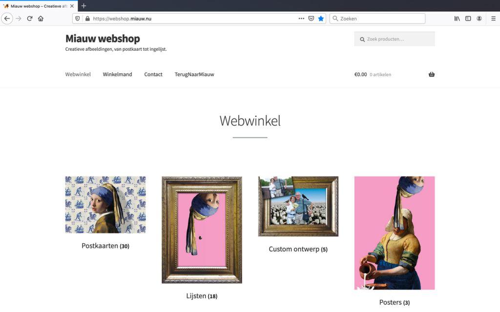 Miauw webshop homepage